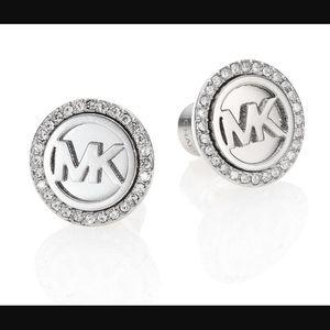 Michael Kors Logo Pave Silver Stud Earrings NWT